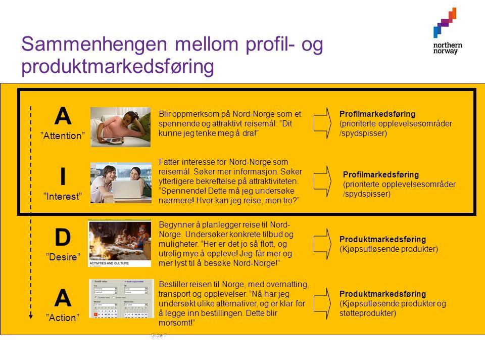 Side 7 Profilmarkedsføring (prioriterte opplevelsesområder /spydspisser) Profilmarkedsføring (prioriterte opplevelsesområder /spydspisser) Produktmarkedsføring (Kjøpsutløsende produkter) Produktmarkedsføring (Kjøpsutløsende produkter og støtteprodukter) A Attention I Interest D Desire A Action Blir oppmerksom på Nord-Norge som et spennende og attraktivt reisemål: Dit kunne jeg tenke meg å dra! Fatter interesse for Nord-Norge som reisemål.