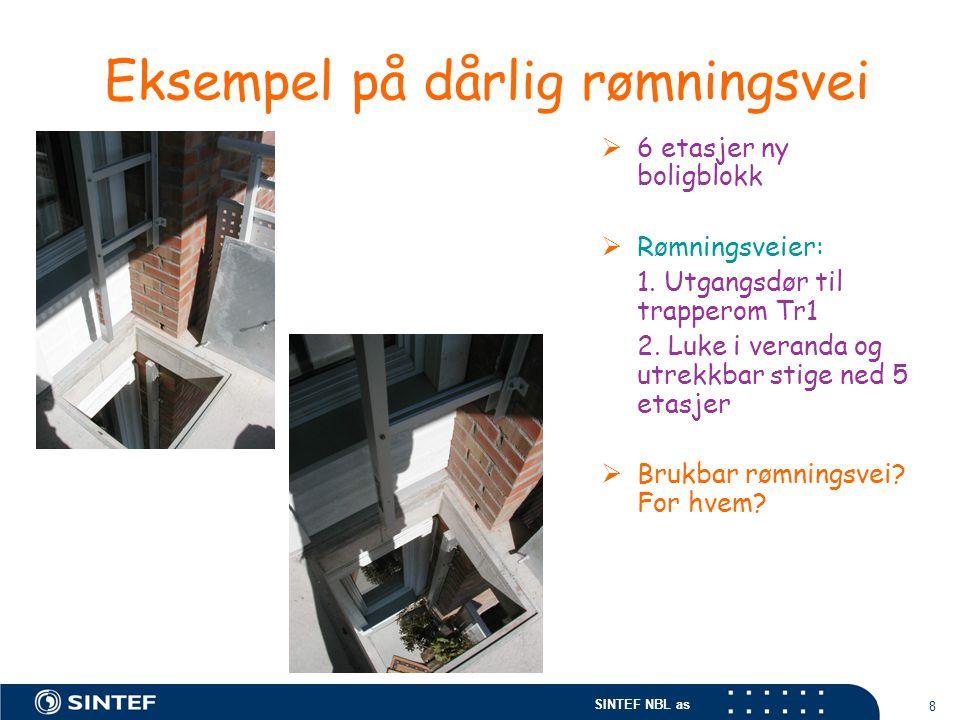 SINTEF NBL as 8 Eksempel på dårlig rømningsvei  6 etasjer ny boligblokk  Rømningsveier: 1. Utgangsdør til trapperom Tr1 2. Luke i veranda og utrekkb