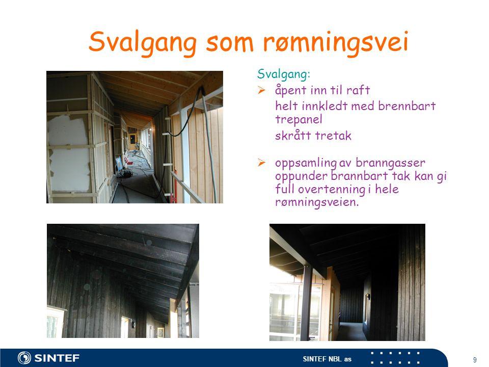SINTEF NBL as 9 Svalgang som rømningsvei Svalgang:  åpent inn til raft helt innkledt med brennbart trepanel skrått tretak  oppsamling av branngasser