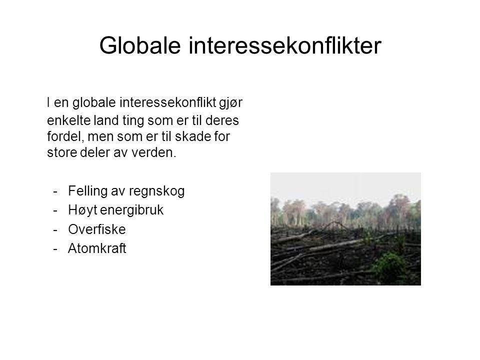 Globale interessekonflikter I en globale interessekonflikt gjør enkelte land ting som er til deres fordel, men som er til skade for store deler av ver