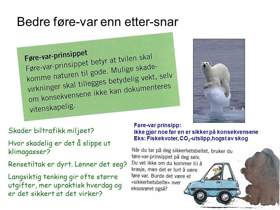 Bedre føre-var enn etter-snar Skader biltrafikk miljøet? Hvor skadelig er det å slippe ut klimagasser? Rensetiltak er dyrt. Lønner det seg? Langsiktig