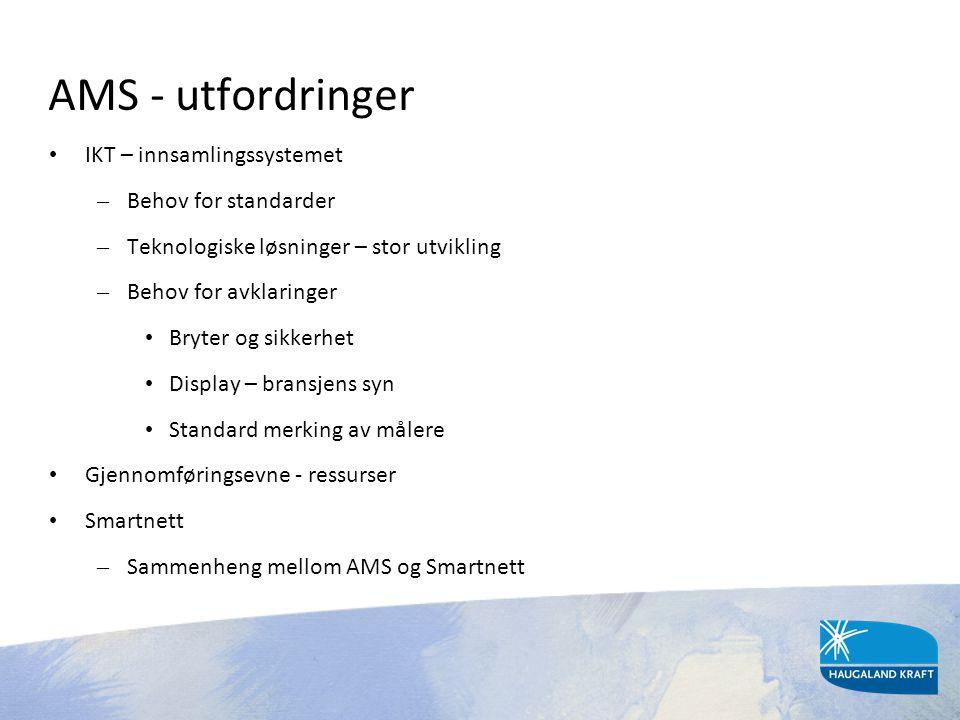 AMS - utfordringer • IKT – innsamlingssystemet – Behov for standarder – Teknologiske løsninger – stor utvikling – Behov for avklaringer • Bryter og si