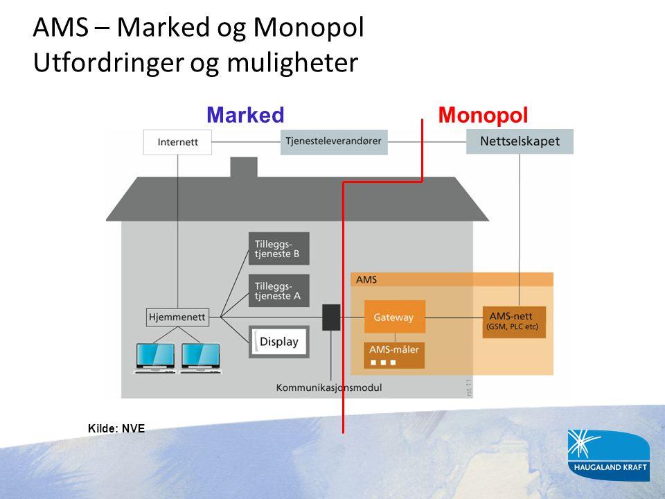 AMS – Marked og Monopol Utfordringer og muligheter MarkedMonopol Kilde: NVE