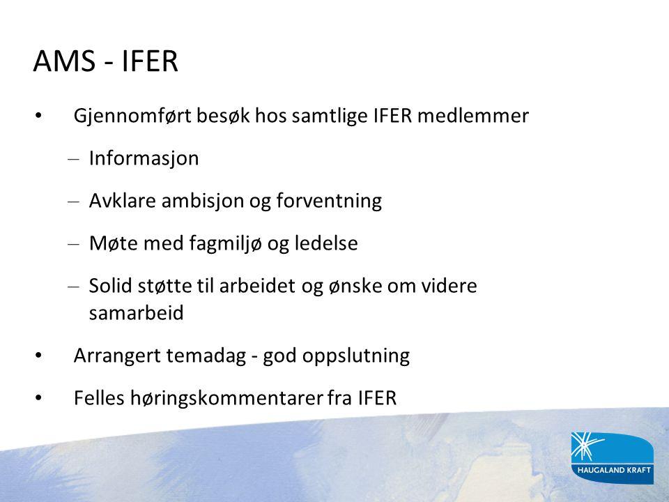 AMS - IFER • Gjennomført besøk hos samtlige IFER medlemmer – Informasjon – Avklare ambisjon og forventning – Møte med fagmiljø og ledelse – Solid støt