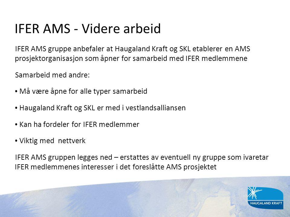 IFER AMS - Videre arbeid IFER AMS gruppe anbefaler at Haugaland Kraft og SKL etablerer en AMS prosjektorganisasjon som åpner for samarbeid med IFER me