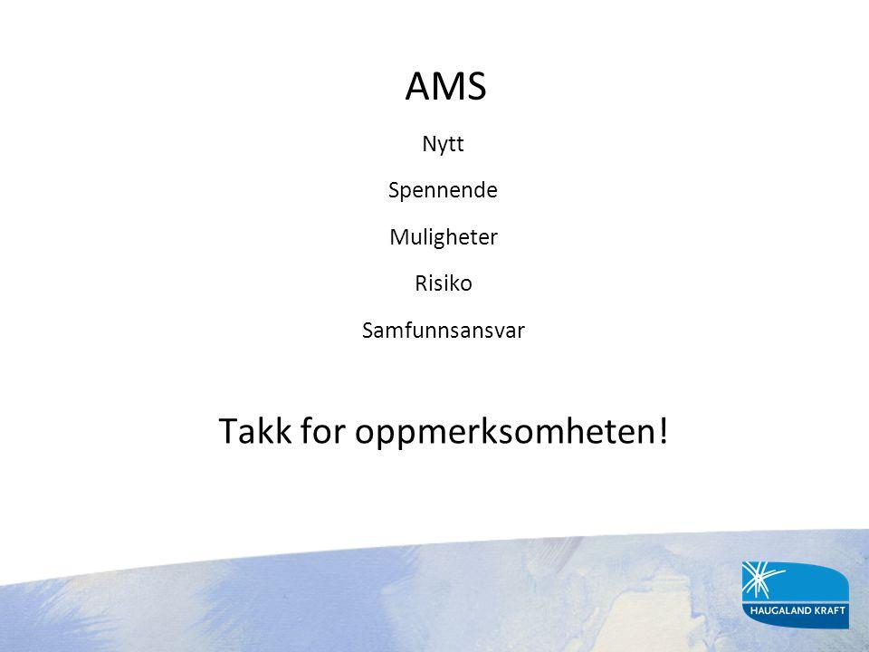 AMS Nytt Spennende Muligheter Risiko Samfunnsansvar Takk for oppmerksomheten!