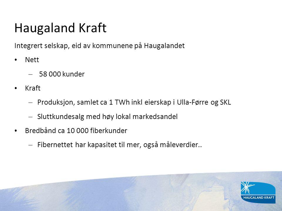 Haugaland Kraft Integrert selskap, eid av kommunene på Haugalandet • Nett – 58 000 kunder • Kraft – Produksjon, samlet ca 1 TWh inkl eierskap i Ulla-F