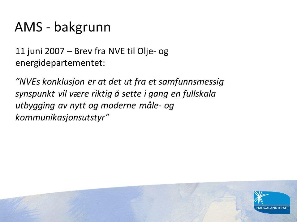 """AMS - bakgrunn 11 juni 2007 – Brev fra NVE til Olje- og energidepartementet: """"NVEs konklusjon er at det ut fra et samfunnsmessig synspunkt vil være ri"""