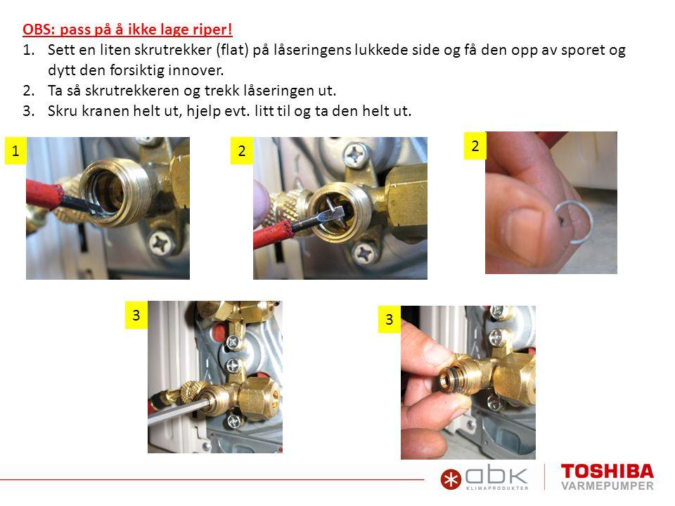 OBS: pass på å ikke lage riper! 1.Sett en liten skrutrekker (flat) på låseringens lukkede side og få den opp av sporet og dytt den forsiktig innover.