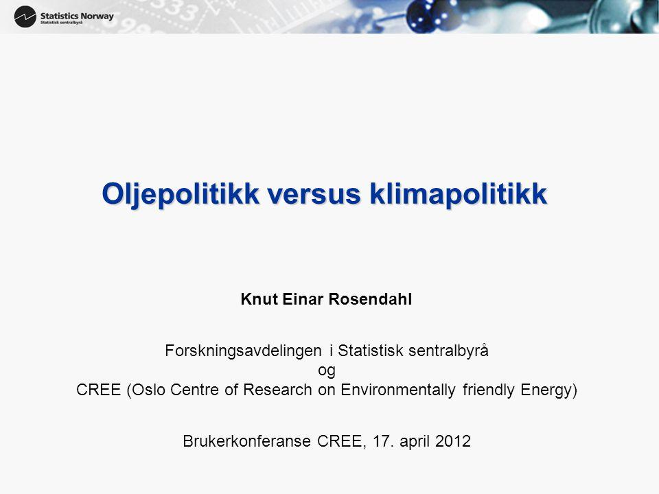 1 Oljepolitikk versus klimapolitikk Knut Einar Rosendahl Forskningsavdelingen i Statistisk sentralbyrå og CREE (Oslo Centre of Research on Environmentally friendly Energy) Brukerkonferanse CREE, 17.
