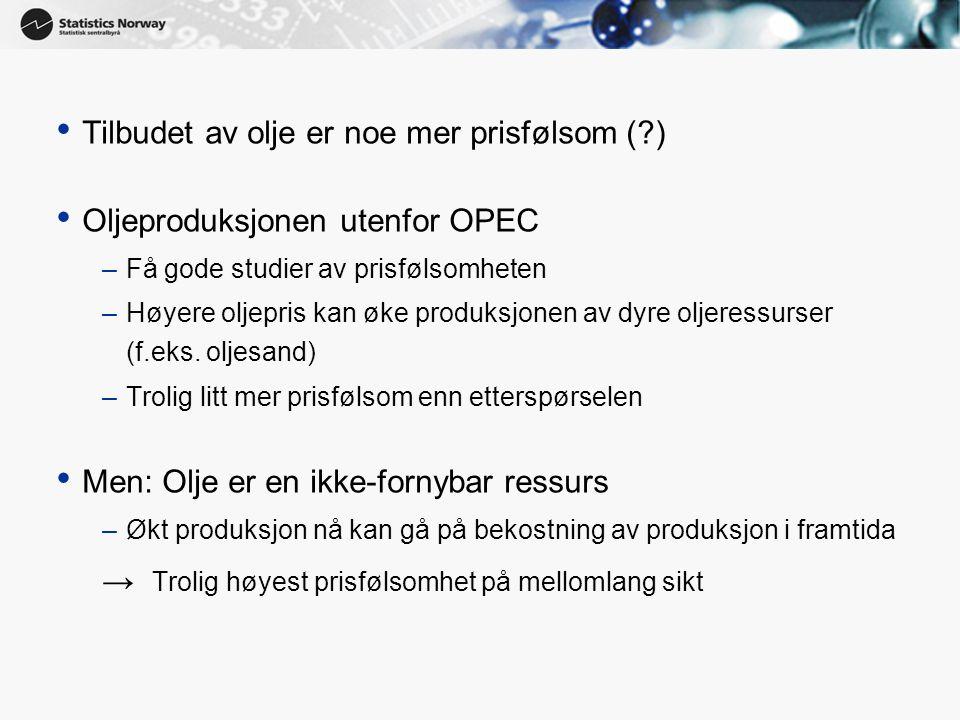 12 • Tilbudet av olje er noe mer prisfølsom (?) • Oljeproduksjonen utenfor OPEC –Få gode studier av prisfølsomheten –Høyere oljepris kan øke produksjonen av dyre oljeressurser (f.eks.