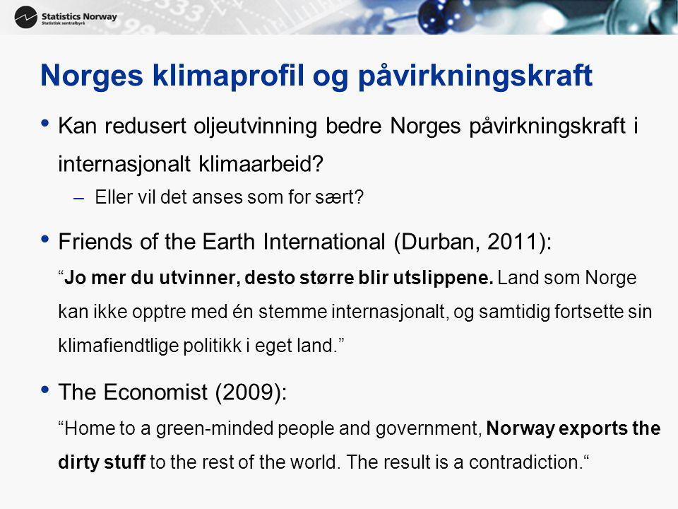 23 Norges klimaprofil og påvirkningskraft • Kan redusert oljeutvinning bedre Norges påvirkningskraft i internasjonalt klimaarbeid.