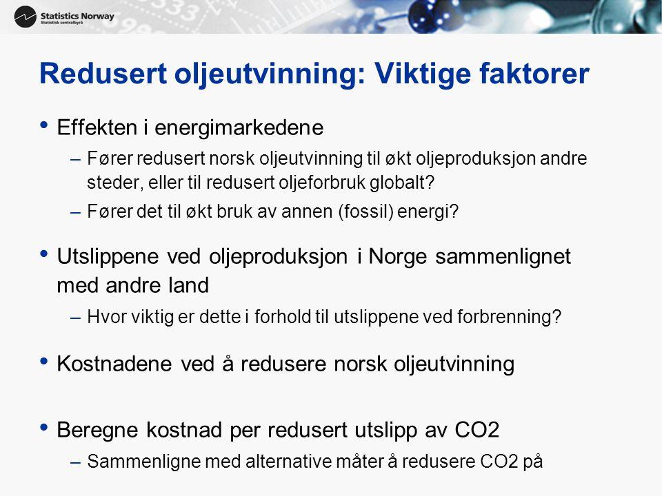 9 Redusert oljeutvinning: Viktige faktorer • Effekten i energimarkedene –Fører redusert norsk oljeutvinning til økt oljeproduksjon andre steder, eller til redusert oljeforbruk globalt.
