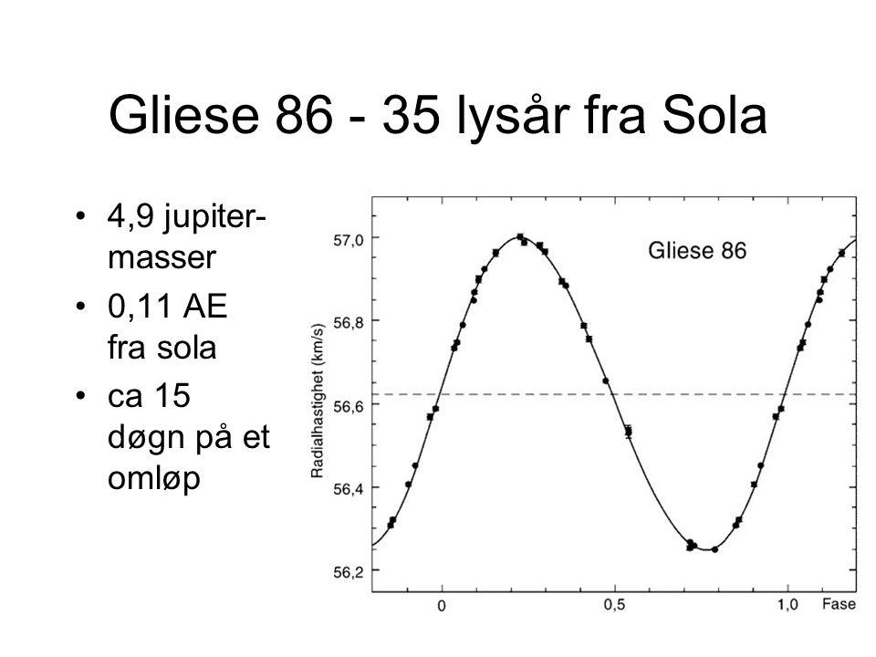 Gliese 86 - 35 lysår fra Sola •4,9 jupiter- masser •0,11 AE fra sola •ca 15 døgn på et omløp