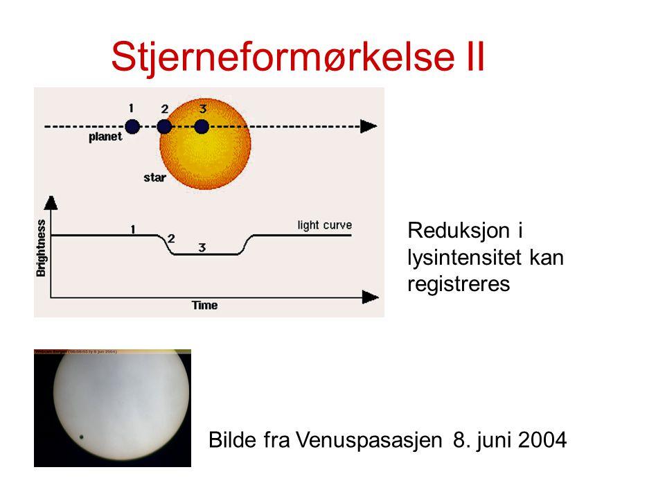Stjerneformørkelse II Bilde fra Venuspasasjen 8. juni 2004 Reduksjon i lysintensitet kan registreres