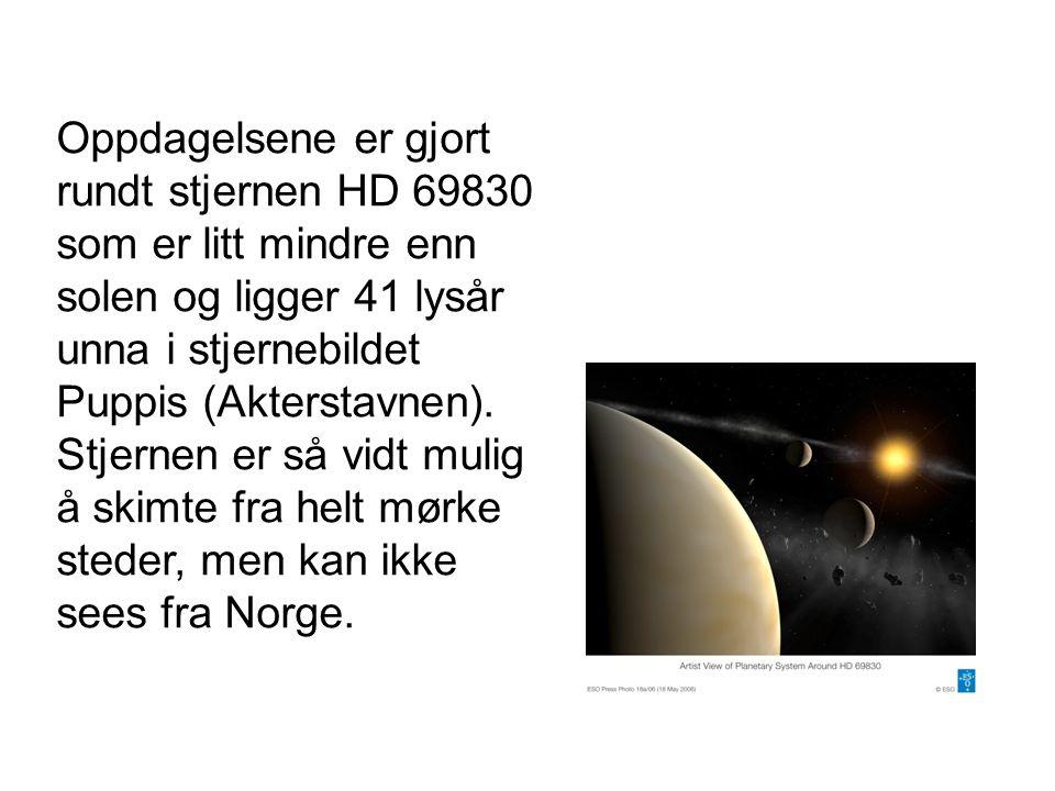 Oppdagelsene er gjort rundt stjernen HD 69830 som er litt mindre enn solen og ligger 41 lysår unna i stjernebildet Puppis (Akterstavnen). Stjernen er