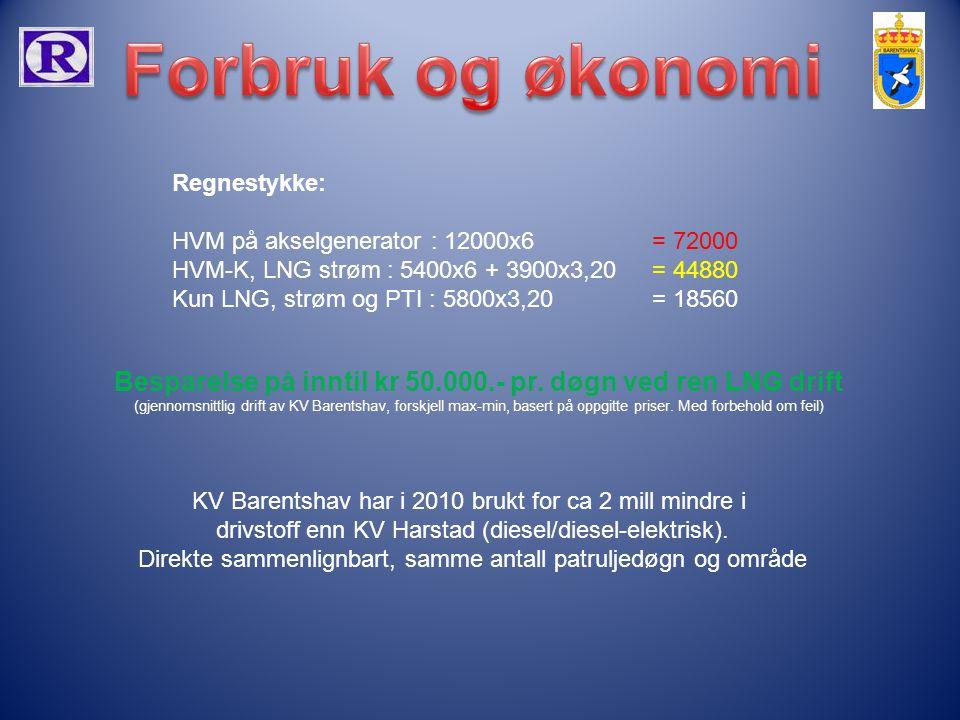 Regnestykke: HVM på akselgenerator : 12000x6 = 72000 HVM-K, LNG strøm : 5400x6 + 3900x3,20 = 44880 Kun LNG, strøm og PTI : 5800x3,20 = 18560 Besparels