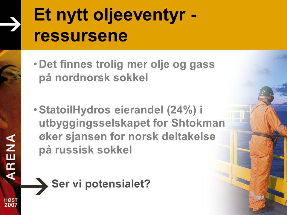 Et nytt oljeeventyr - ressursene •Det finnes trolig mer olje og gass på nordnorsk sokkel •StatoilHydros eierandel (24%) i utbyggingsselskapet for Shtokman øker sjansen for norsk deltakelse på russisk sokkel Ser vi potensialet?