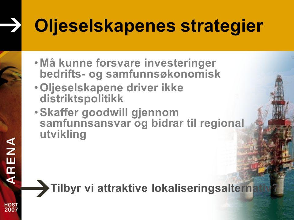 Oljeselskapenes strategier •Må kunne forsvare investeringer bedrifts- og samfunnsøkonomisk •Oljeselskapene driver ikke distriktspolitikk •Skaffer goodwill gjennom samfunnsansvar og bidrar til regional utvikling Tilbyr vi attraktive lokaliseringsalternativ?