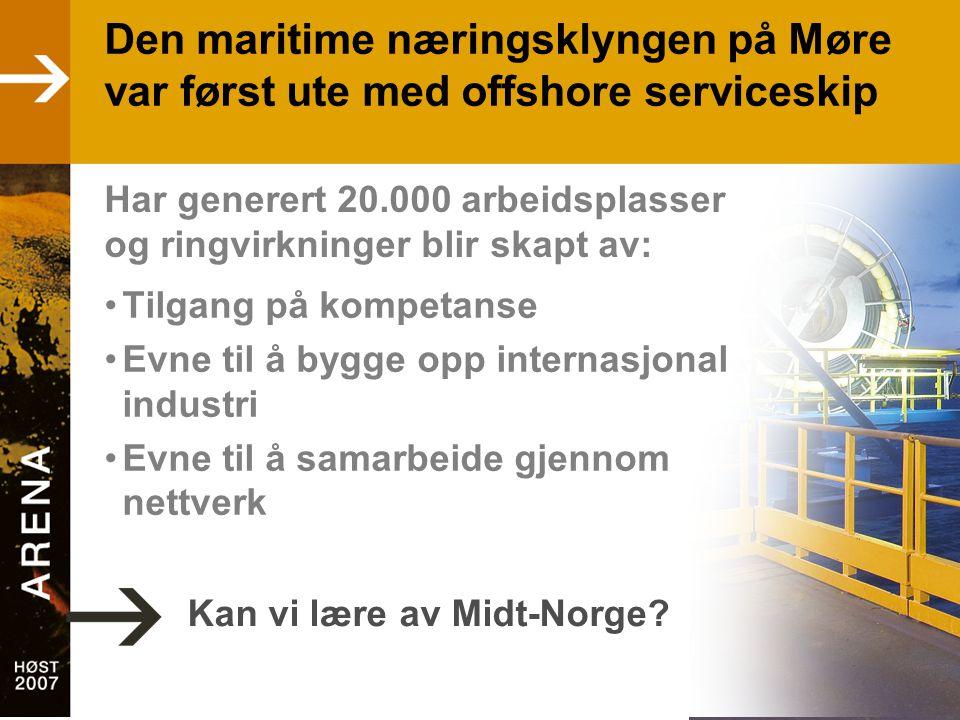 Den maritime næringsklyngen på Møre var først ute med offshore serviceskip •Tilgang på kompetanse •Evne til å bygge opp internasjonal industri •Evne til å samarbeide gjennom nettverk Kan vi lære av Midt-Norge.