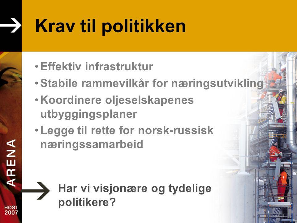 Krav til politikken •Effektiv infrastruktur •Stabile rammevilkår for næringsutvikling •Koordinere oljeselskapenes utbyggingsplaner •Legge til rette for norsk-russisk næringssamarbeid Har vi visjonære og tydelige politikere?