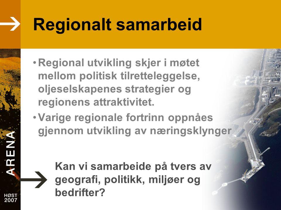 Regionalt samarbeid •Regional utvikling skjer i møtet mellom politisk tilretteleggelse, oljeselskapenes strategier og regionens attraktivitet. •Varige