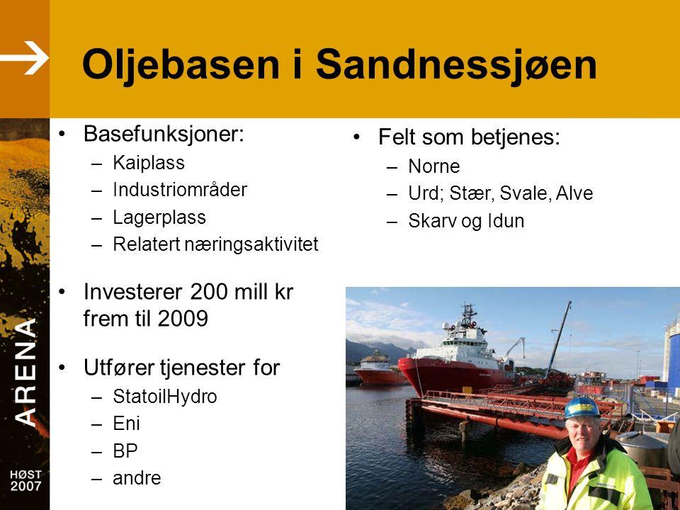 •Basefunksjoner: –Kaiplass –Industriområder –Lagerplass –Relatert næringsaktivitet •Investerer 200 mill kr frem til 2009 •Utfører tjenester for –StatoilHydro –Eni –BP –andre •Felt som betjenes: –Norne –Urd; Stær, Svale, Alve –Skarv og Idun Oljebasen i Sandnessjøen