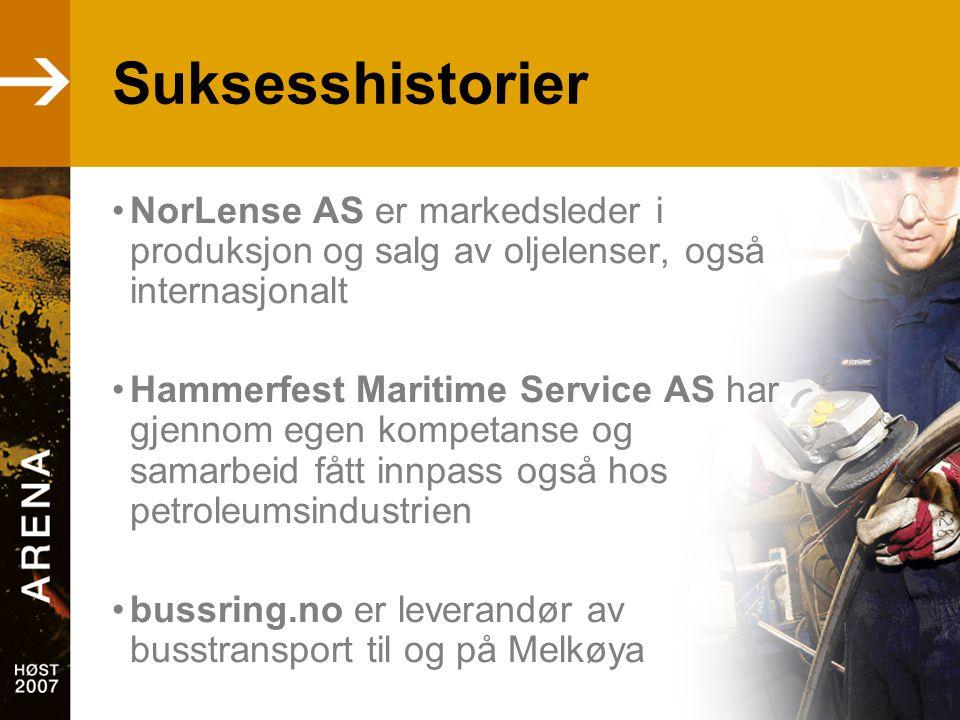 Suksesshistorier •NorLense AS er markedsleder i produksjon og salg av oljelenser, også internasjonalt •Hammerfest Maritime Service AS har gjennom egen kompetanse og samarbeid fått innpass også hos petroleumsindustrien •bussring.no er leverandør av busstransport til og på Melkøya