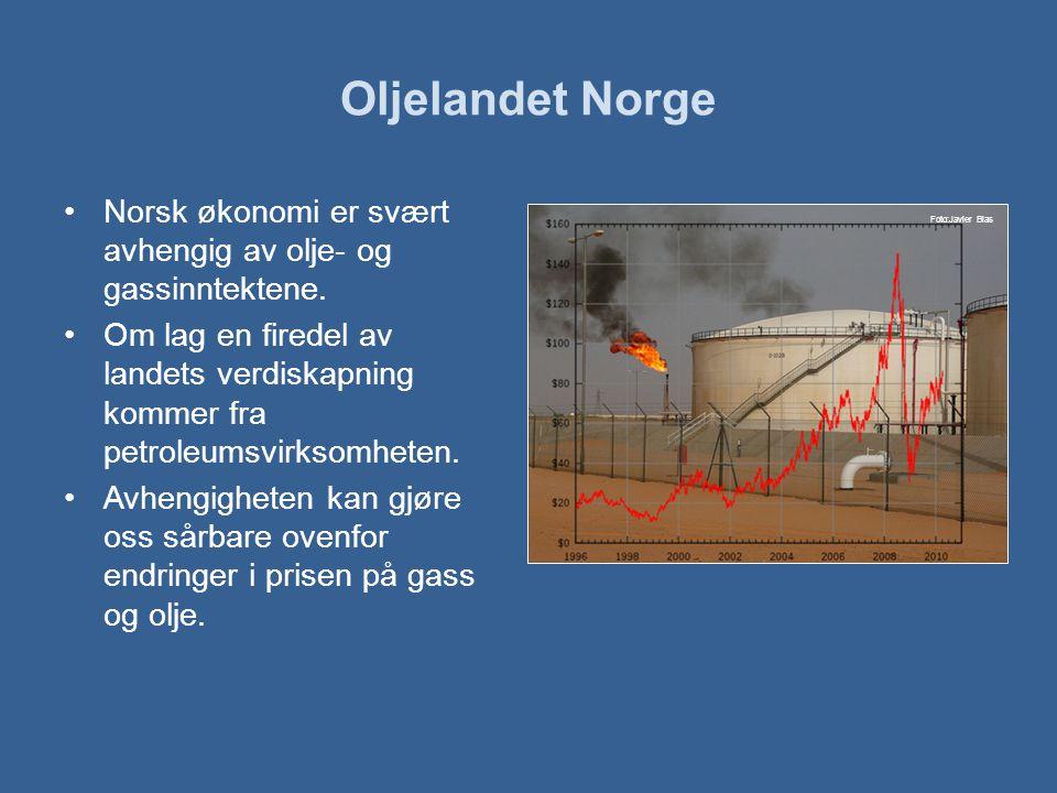 Oljelandet Norge •Norsk økonomi er svært avhengig av olje- og gassinntektene.