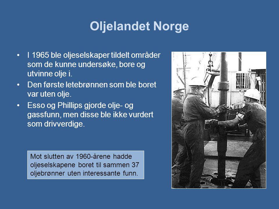 Oljelandet Norge •I 1965 ble oljeselskaper tildelt områder som de kunne undersøke, bore og utvinne olje i.