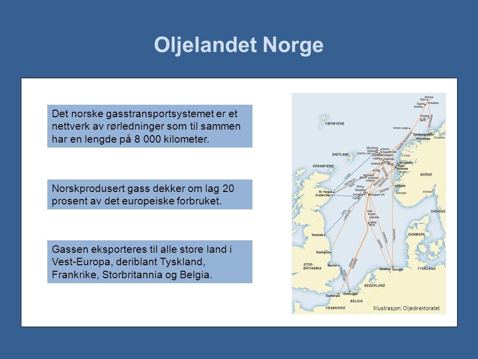 Oljelandet Norge Det norske gasstransportsystemet er et nettverk av rørledninger som til sammen har en lengde på 8 000 kilometer.