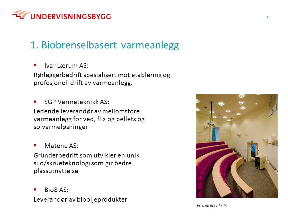 1. Biobrenselbasert varmeanlegg  Ivar Lærum AS: Rørleggerbedrift spesialisert mot etablering og profesjonell drift av varmeanlegg.  SGP Varmeteknikk