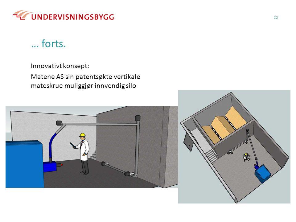 … forts. Innovativt konsept: Matene AS sin patentsøkte vertikale mateskrue muliggjør innvendig silo 12