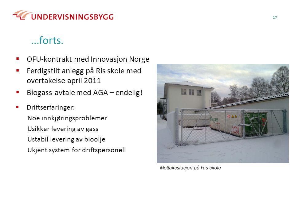 17...forts.  OFU-kontrakt med Innovasjon Norge  Ferdigstilt anlegg på Ris skole med overtakelse april 2011  Biogass-avtale med AGA – endelig! Motta
