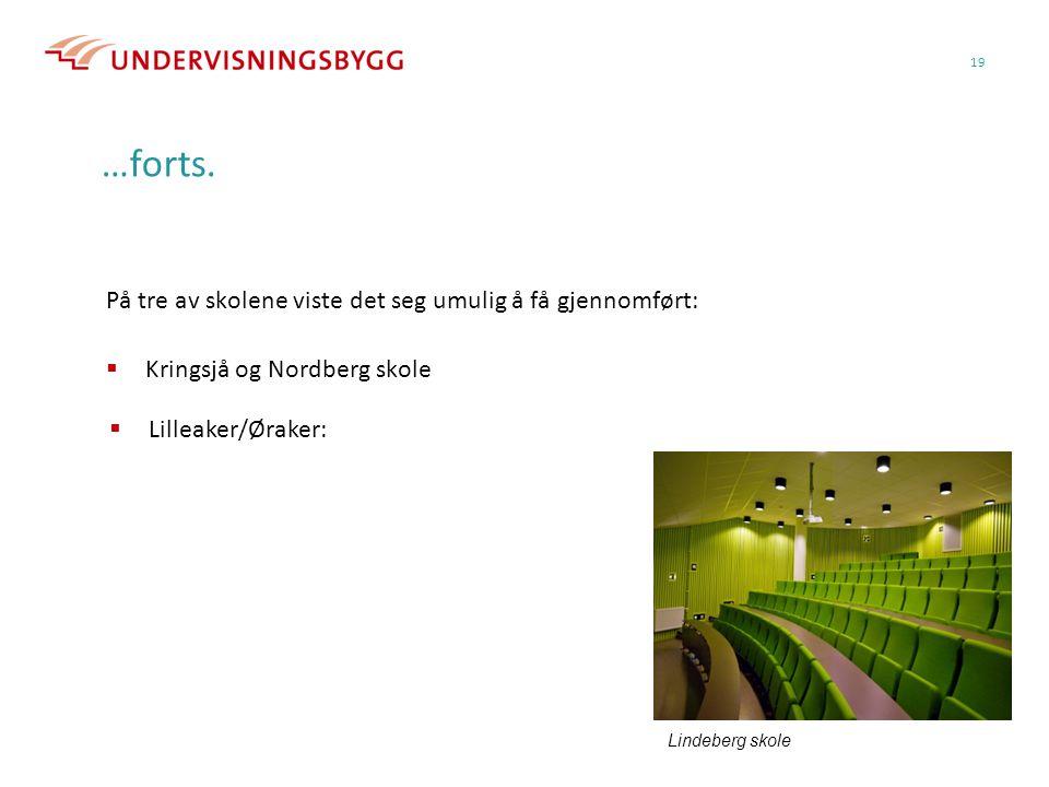 19 …forts. På tre av skolene viste det seg umulig å få gjennomført:  Kringsjå og Nordberg skole Lindeberg skole  Lilleaker/Øraker: