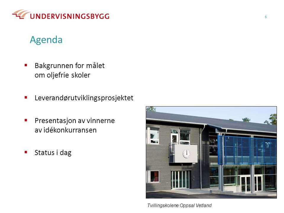 Agenda 6  Bakgrunnen for målet om oljefrie skoler  Leverandørutviklingsprosjektet  Presentasjon av vinnerne av idékonkurransen  Status i dag Tvill