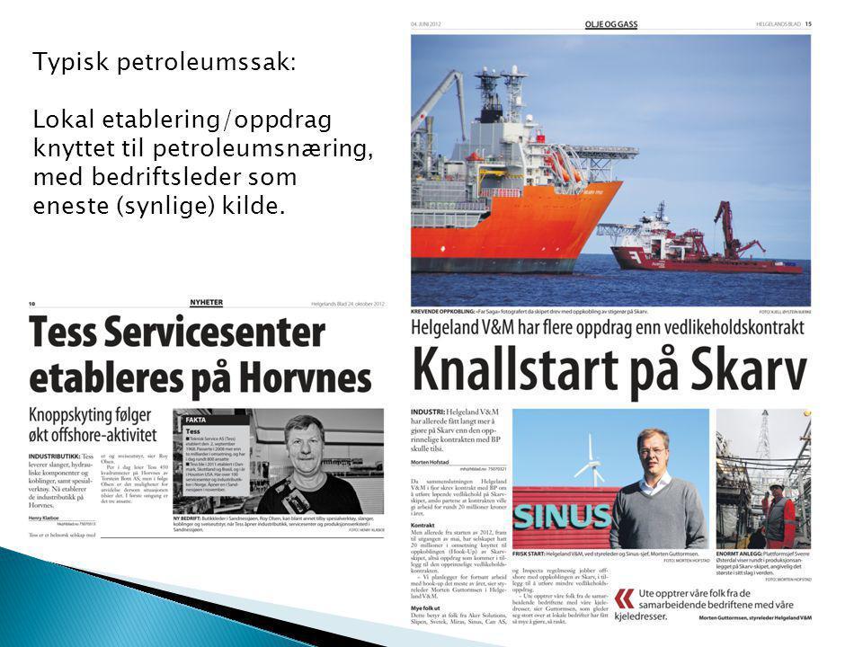 Typisk petroleumssak: Lokal etablering/oppdrag knyttet til petroleumsnæring, med bedriftsleder som eneste (synlige) kilde.