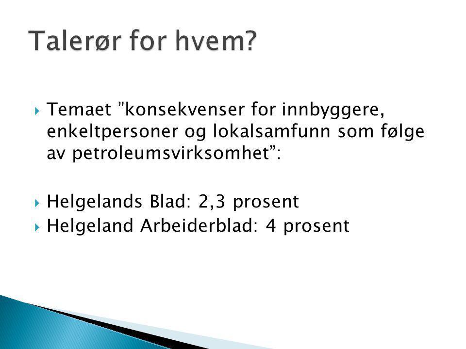  Temaet konsekvenser for innbyggere, enkeltpersoner og lokalsamfunn som følge av petroleumsvirksomhet :  Helgelands Blad: 2,3 prosent  Helgeland Arbeiderblad: 4 prosent
