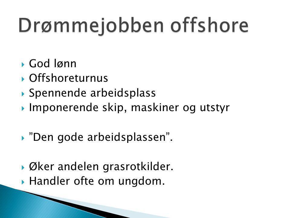 """ God lønn  Offshoreturnus  Spennende arbeidsplass  Imponerende skip, maskiner og utstyr  """"Den gode arbeidsplassen"""".  Øker andelen grasrotkilder."""