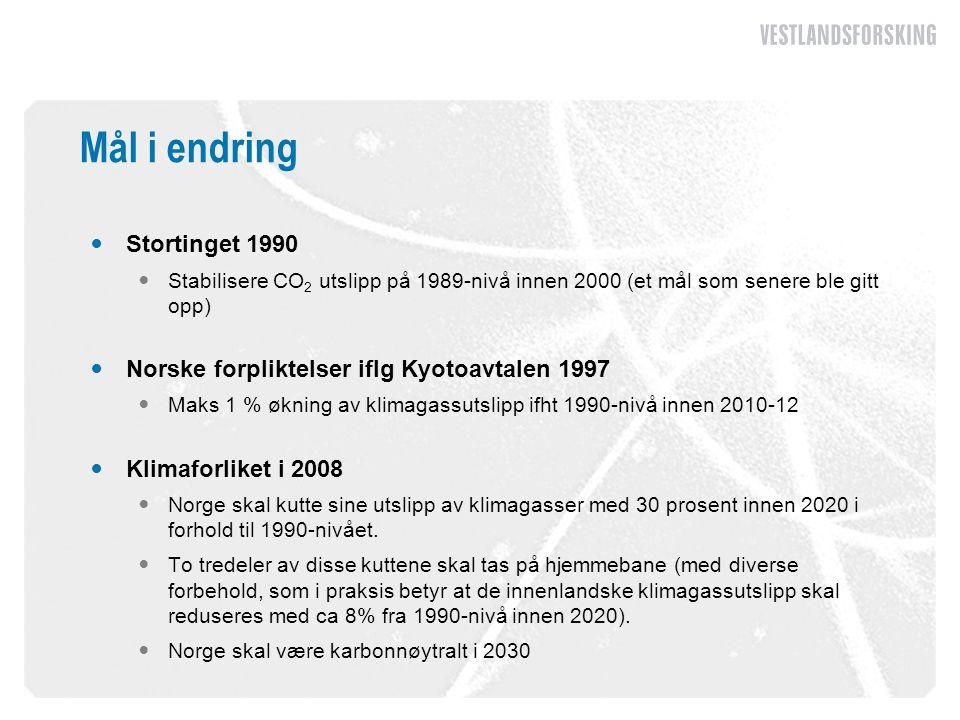 Mål i endring  Stortinget 1990  Stabilisere CO 2 utslipp på 1989-nivå innen 2000 (et mål som senere ble gitt opp)  Norske forpliktelser iflg Kyotoa