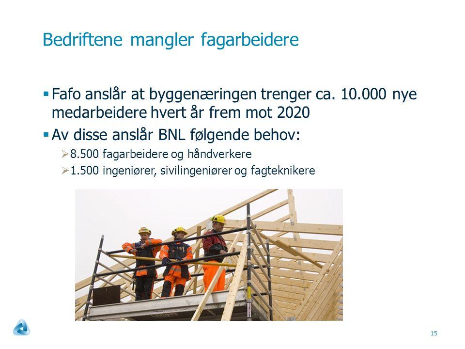 Bedriftene mangler fagarbeidere 15  Fafo anslår at byggenæringen trenger ca.