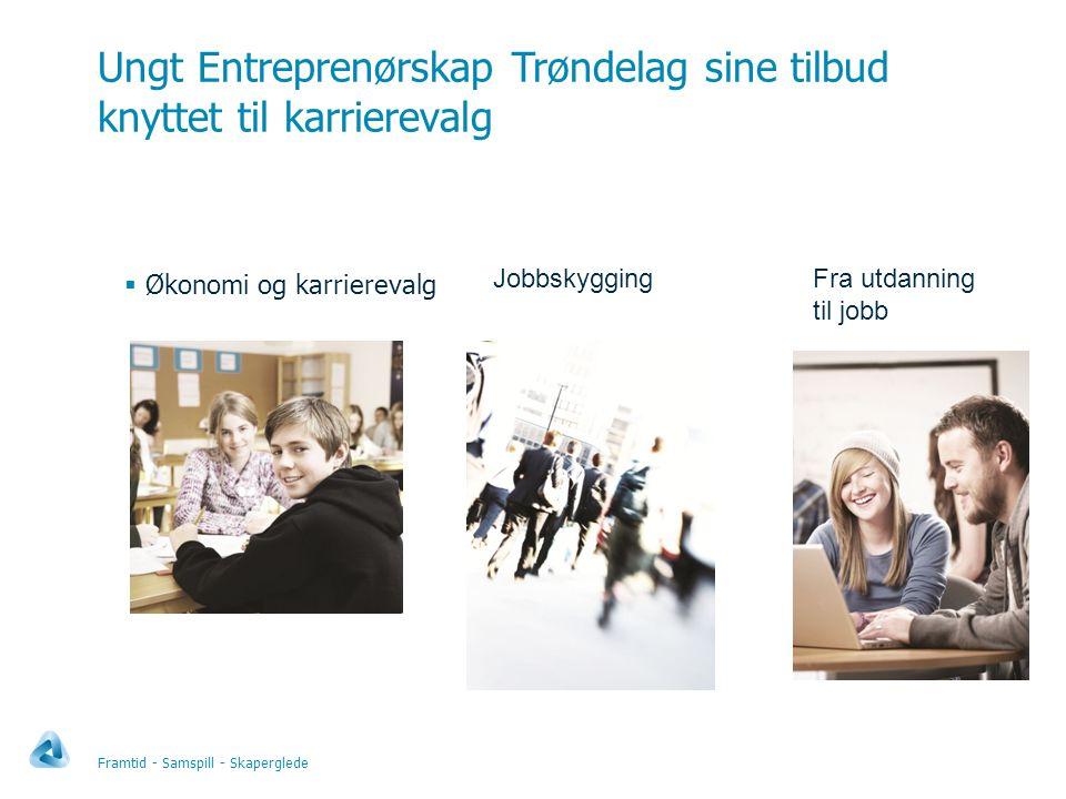 Ungt Entreprenørskap Trøndelag sine tilbud knyttet til karrierevalg Framtid - Samspill - Skaperglede  Økonomi og karrierevalg JobbskyggingFra utdanning til jobb