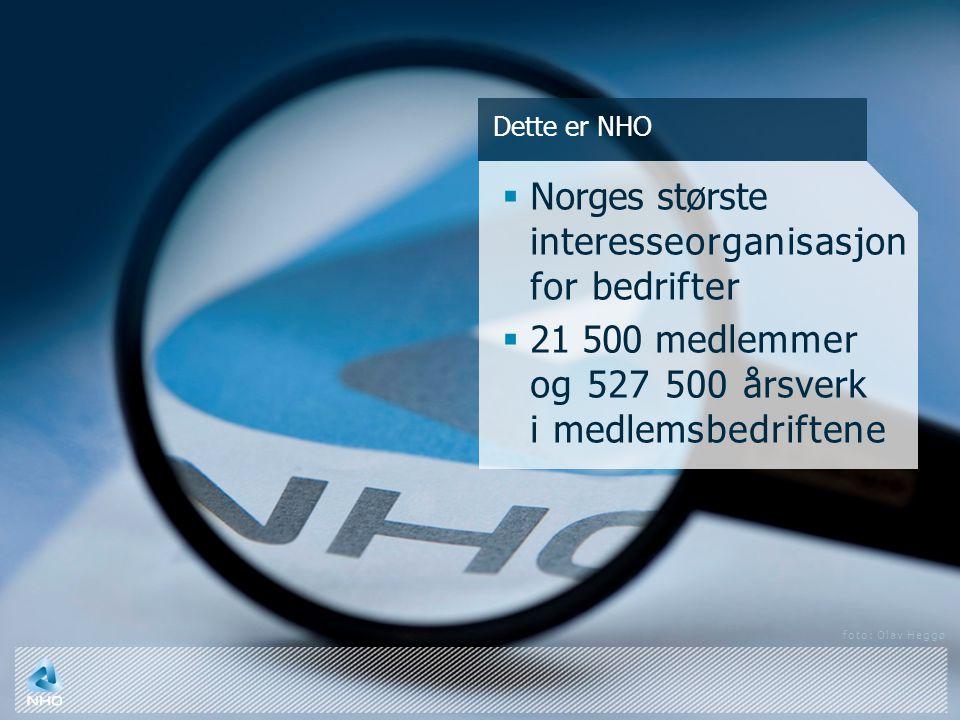Dette er NHO  Norges største interesseorganisasjon for bedrifter  21 500 medlemmer og 527 500 årsverk i medlemsbedriftene foto: Olav Heggø