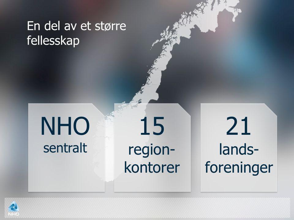 En del av et større fellesskap 21 lands- foreninger 15 region- kontorer NHO sentralt