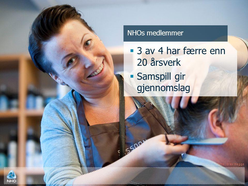 NHOs medlemmer  3 av 4 har færre enn 20 årsverk  Samspill gir gjennomslag foto: Olav Heggø