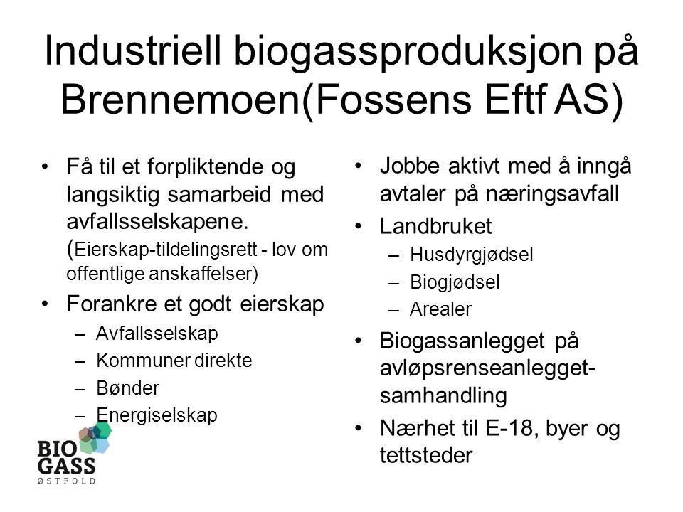 Industriell biogassproduksjon på Brennemoen(Fossens Eftf AS) •Få til et forpliktende og langsiktig samarbeid med avfallsselskapene.
