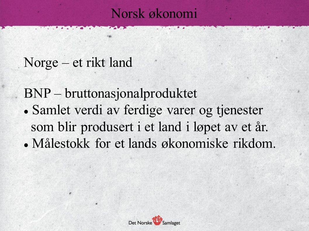 Norge – et rikt land BNP – bruttonasjonalproduktet  Samlet verdi av ferdige varer og tjenester som blir produsert i et land i løpet av et år.  Måles