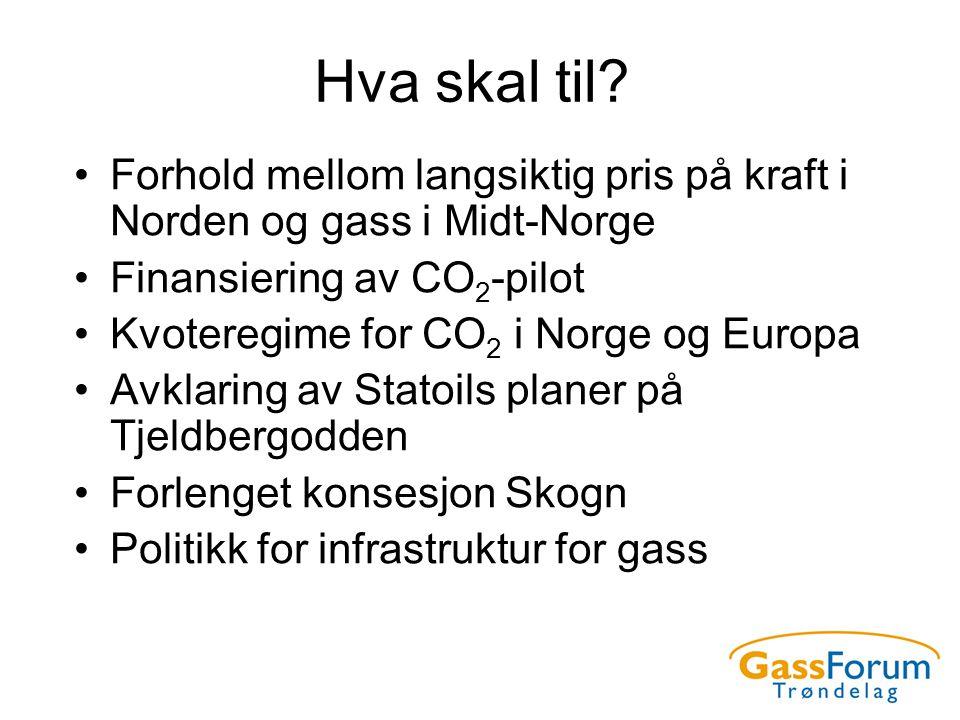 Hva skal til? •Forhold mellom langsiktig pris på kraft i Norden og gass i Midt-Norge •Finansiering av CO 2 -pilot •Kvoteregime for CO 2 i Norge og Eur
