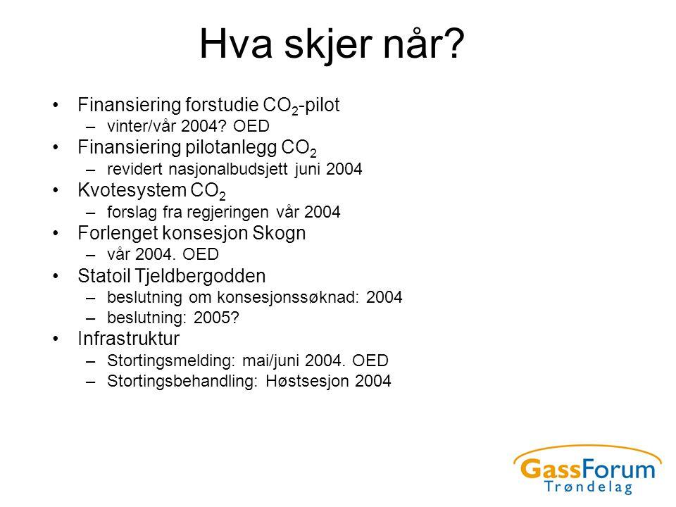 Hva skjer når? •Finansiering forstudie CO 2 -pilot –vinter/vår 2004? OED •Finansiering pilotanlegg CO 2 –revidert nasjonalbudsjett juni 2004 •Kvotesys