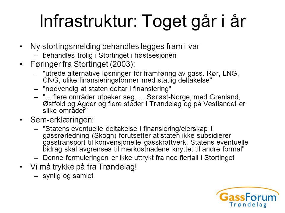 Infrastruktur: Toget går i år •Ny stortingsmelding behandles legges fram i vår –behandles trolig i Stortinget i høstsesjonen •Føringer fra Stortinget